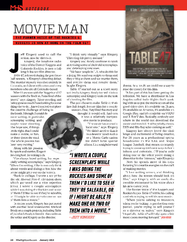 Table 47 film featured in Mile High Sports Magazine